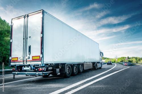 White truck on german highway Canvas Print