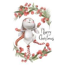 Cute Watercolor Bunny, Christm...