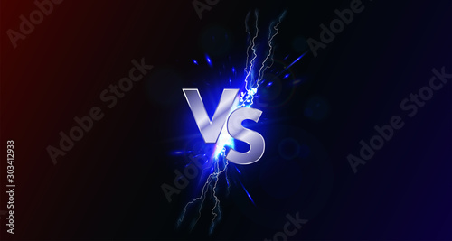 Cuadros en Lienzo  Versus banner with blue sparkling lightning