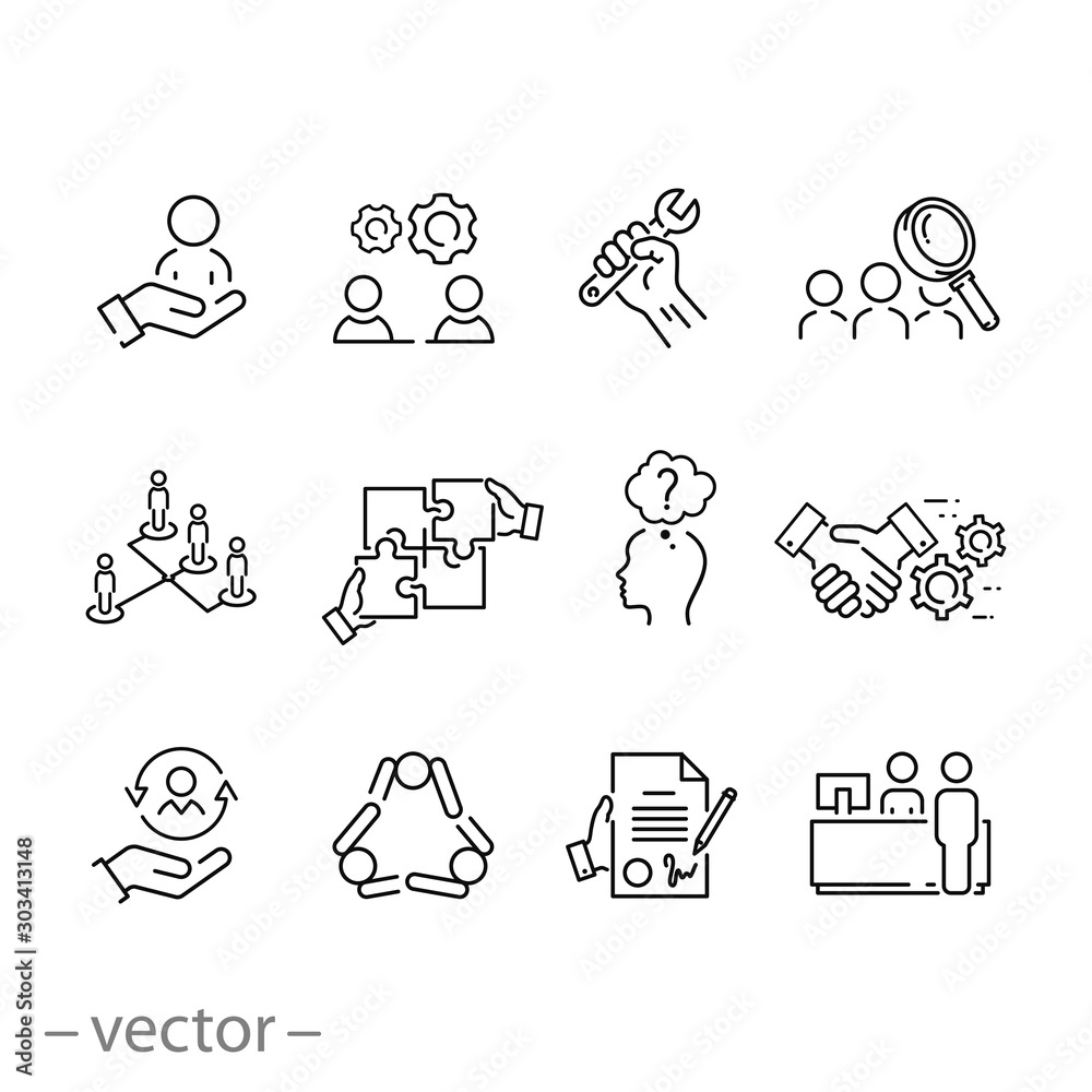 Fototapeta outline business career people icon set, corporate job human, work professional employee, team search, candidate person, thin line web symbols on white background