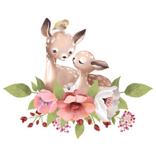 Cute Mother Deer With A Baby D...