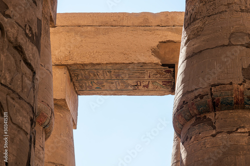 Photo Carved Architraves on Columns in the Hypostyle Hall Karnak Egypt