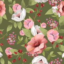 Beautiful Floral Seamless, Tileable, Watercolor Pattern On Green Background