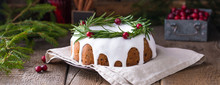 Traditional Homemade Christmas Fruit Cake On The Wooden Background, Banner
