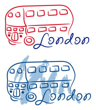 London Red Bus Sketch With Watercolor Grunge Vector Illustration