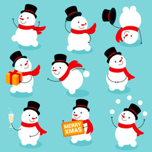 Flat Design Ready For Animation Collection Of Funny Christmas Snowman Poses An Actions. Vector Set Of Funny Cartoon Characters, Poses And Emotions. Vector Icons For Web And Mobile App.