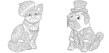 Coloring Pages Set With Cat An...