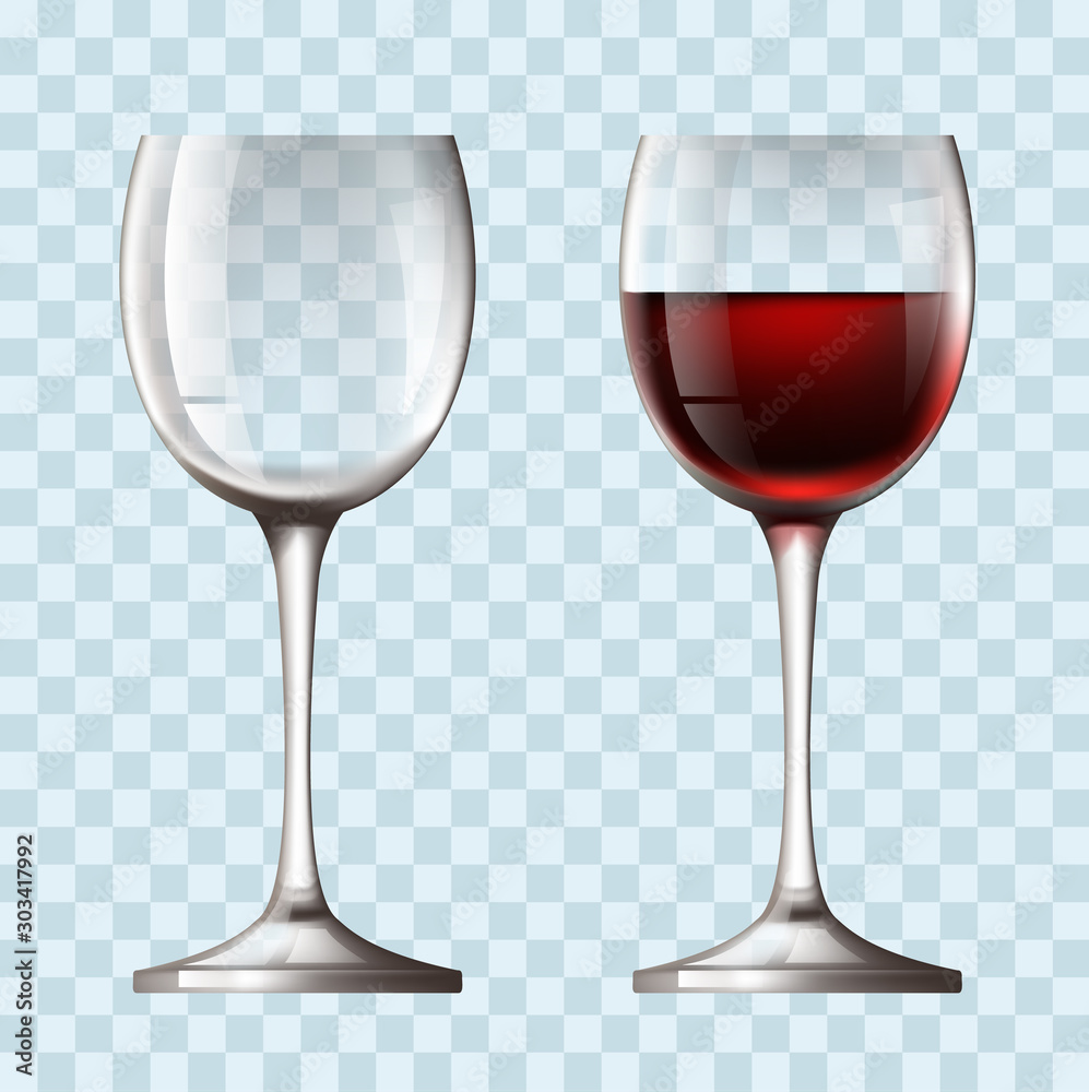 Fototapety, obrazy: Empty and full realistic wineglass concept. Vector flat graphic design illustration