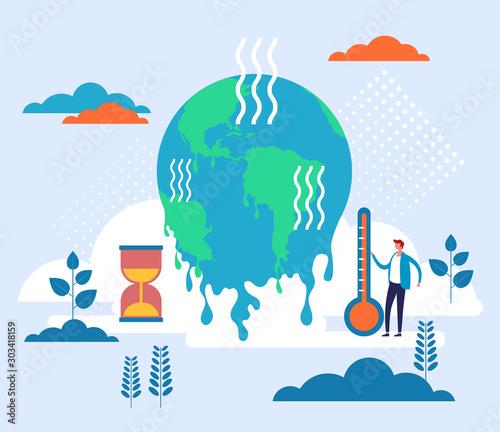 Global warming environmental concept. Vector flat graphic design illustration