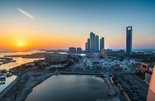 Sunset Over Abu Dhabi Skyline ...