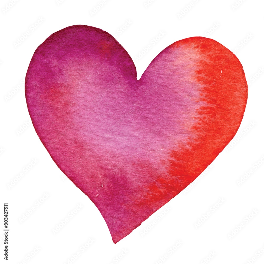 Fototapety, obrazy: Set of hand painted watercolor hearts. Isolated objects perfect for Valentine's day card or romantic post cards