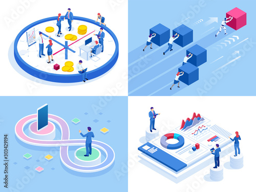 Canvas Print Isometric business concepts