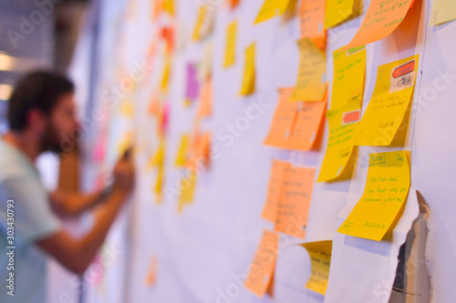 An agile software developer is updating Kanban board Wallpaper Mural