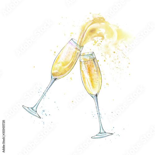 Fotografía  Wineglasses of a champagne