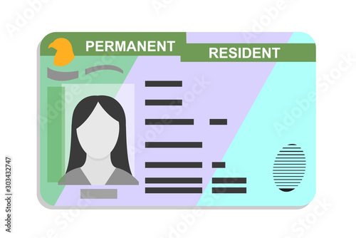 Fotomural American green card, Permanent Residence Card flat icon, vector illustration