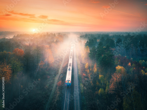 Fototapeta Train in colorful forest in fog at sunset in autumn. Aerial view obraz