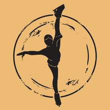 Figure Skater Silhouette Icon Vector Round Shabby Emblem Design, Old Retro Style. Figure Skating Logo Mail Stamp Isolated On Craft Paper. Vintage Grunge Sign. Winter Sport Round Seal Imitation.