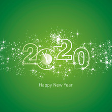 Happy New Year 2020 Clock Countdown With Sparkle Firework Green Vector Logo Icon