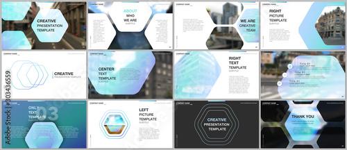 Valokuvatapetti Minimal presentations design, portfolio vector templates with hexagonal design blue color pattern background