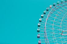 Ferris Wheel On Blue Sky. Vint...