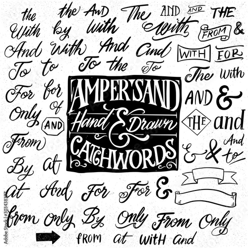 Catchwords and ampersands hand drawn design elements. Wallpaper Mural