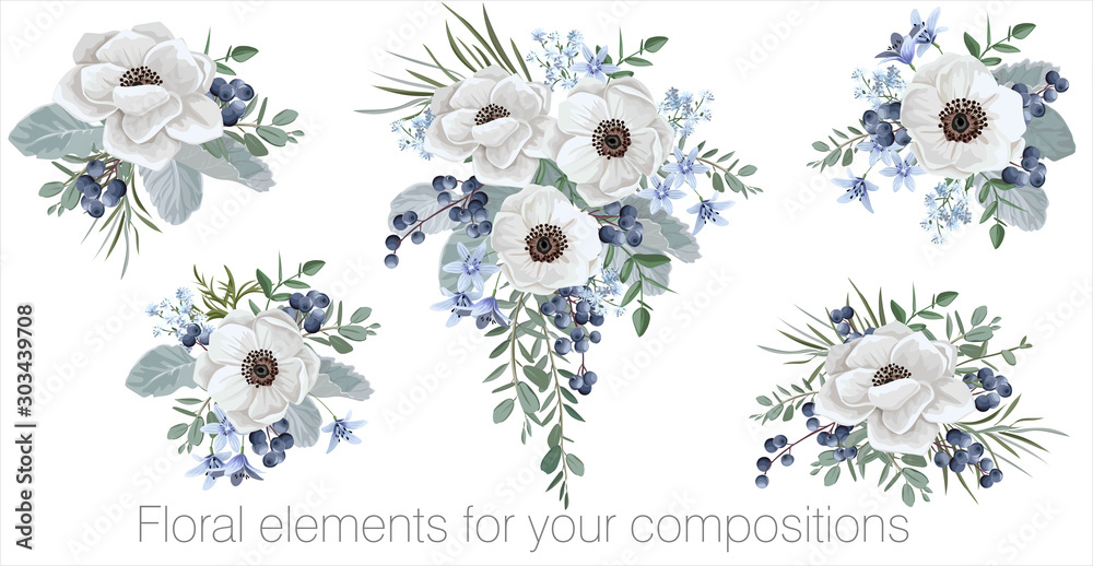 Fototapety, obrazy: Vector floral set with leaves and flowers. Elements for your compositions, greeting cards or wedding invitations. Anemone