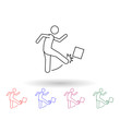 Man kicks the box with his foot multi color icon. Simple thin line, outline vector of carrying and picking a box icons for ui and ux, website or mobile application