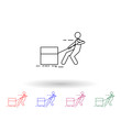 A man pushes a box with a rope multi color icon. Simple thin line, outline vector of carrying and picking a box icons for ui and ux, website or mobile application