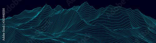 Fototapeta Vector wireframe 3d landscape. Technology grid illustration. Network of connected dots and lines on dark background. obraz