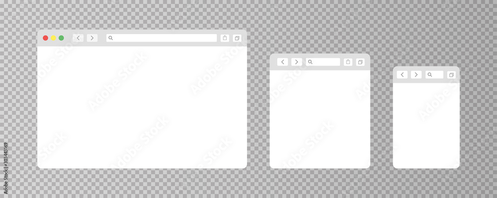 Fototapeta Browser window isolated vector web elements transparent background. Design template with browser window for mobile device design. Blank template. Mockup for web site design.