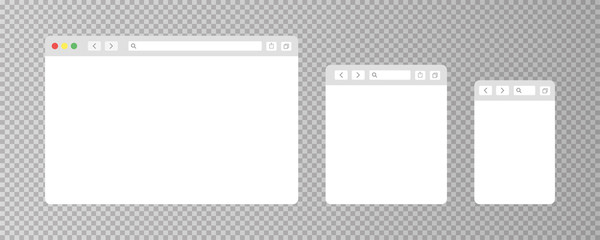 Browser window isolated vector web elements transparent background. Design template with browser window for mobile device design. Blank template. Mockup for web site design.