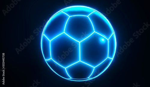 Fotomural  Artistic glowing blue championship soccer ball