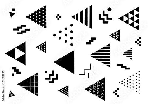 手描きの幾何学模様 三角形 黒