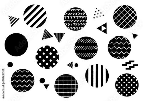 手描きの幾何学模様 丸 円 黒