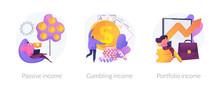 Money Earning Flat Icons Set. ...