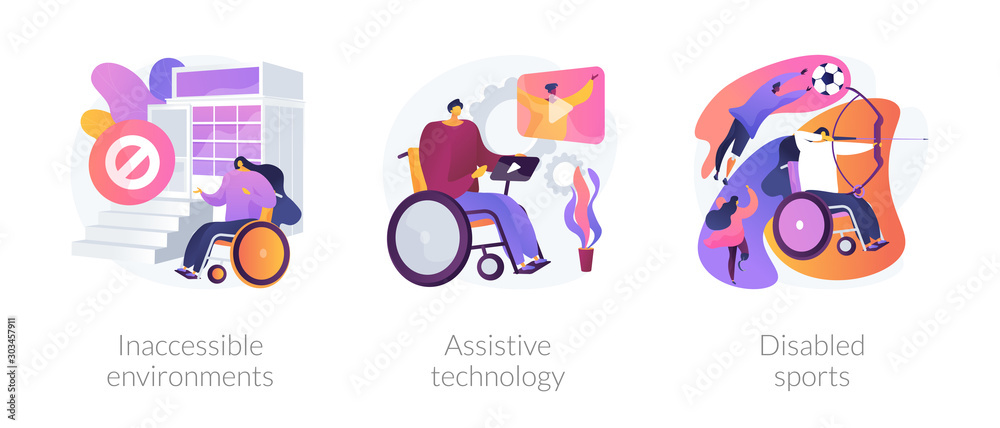 Fototapety, obrazy: Handicapped people accessibility flat icons set. Disabled activity. Inaccessible environments, assistive technology, disabled sports metaphors. Vector isolated concept metaphor illustrations.