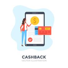 Cashback. Flat Design. Cash Ba...