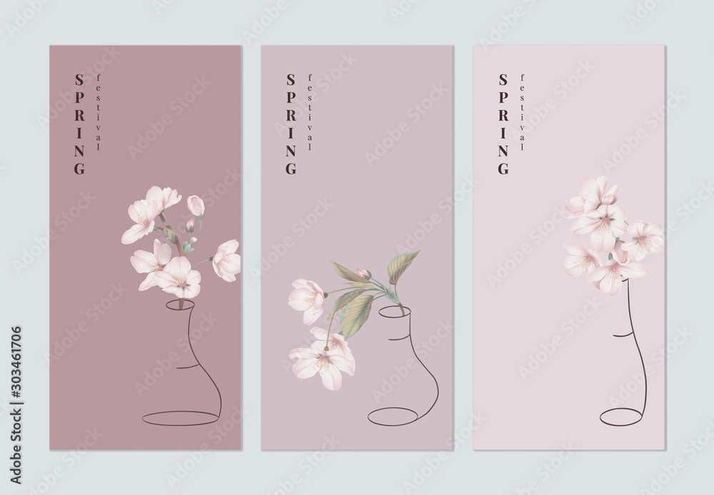 Fototapety, obrazy: Set of spring festival brochure cover template design, pink sakura flowers in outline vase on different pink background