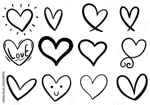 Obraz hand drawn scribble hearts - fototapety do salonu