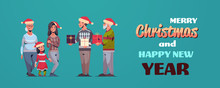 Men Giving Present Gift Boxes To Women Multi Generation Family In Santa Hats Celebrating Merry Christmas Happy New Year Winter Holidays Concept Greeting Card Horizontal Full Length Vector Illustration