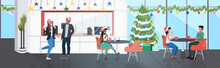 Businesspoeple In Santa Hats Having Corporate Party Mix Race Business People Discussing During Meeting Modern Office Kitchen Dining Room Interior Horizontal Full Length Vector Illustration