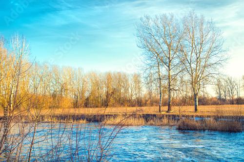Foto auf Gartenposter Beige rural river
