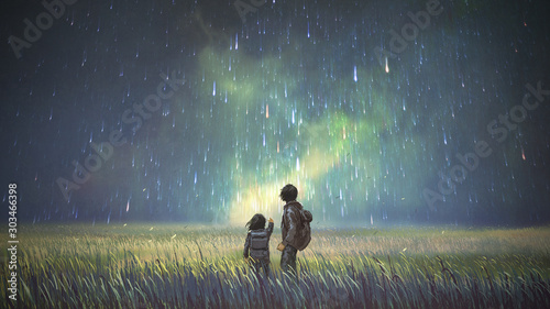 brother and sister in a meadow looking at meteors in the sky, digital art style, Canvas Print