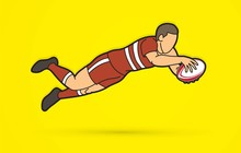 Rugby Player Action, Cartoon S...