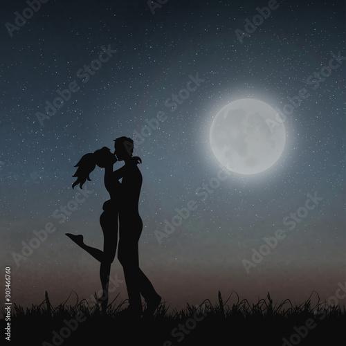 Carta da parati  Young Lovers under Moonlight, Kissing