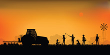 Silhouette Of Farmer Driving A...