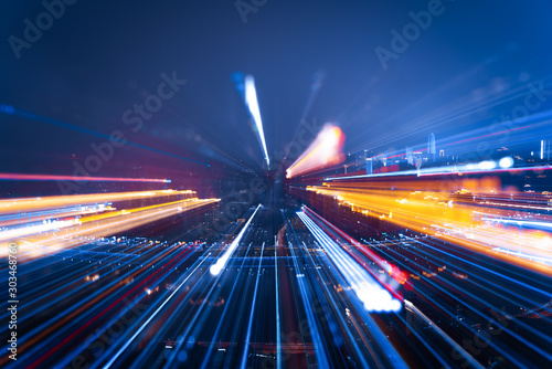 Nightly skyline with bright lights, zoomed Canvas Print