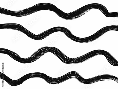 Fotomural  Wavy black and white grunge background