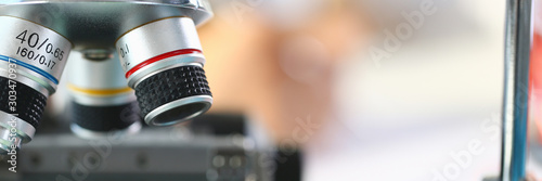 Photo  Head microscope on the background laboratory