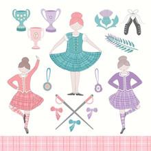 Scottish Highland Dancing Girls And Equipment Vector Set.